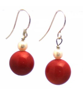 Red Coral Stone with White Pearl