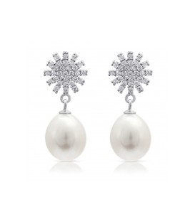 Starburst silver pave studs with freshwater pearls