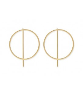 Boho Betty Emmanuel Gold Circle with bar Thread Through Earrings