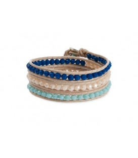Boho Betty Tripoli Triple Leather Wrap Blue/Cream