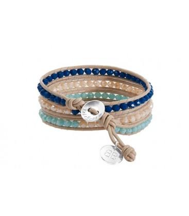Boho Betty Tripoli Triple Leather Wrap Blue/Cream