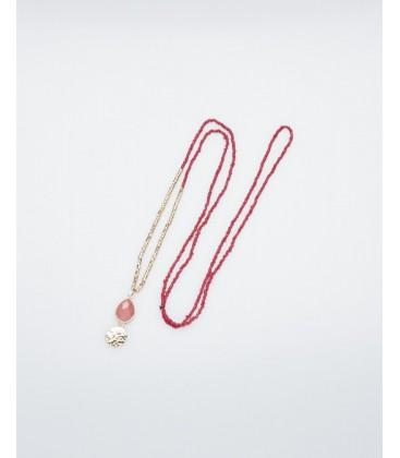 Mark Watson 'Amber' Necklace Raspberry Pink