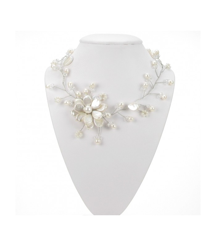 Pearl Wire Flower Necklace Sophisticato Jewellery