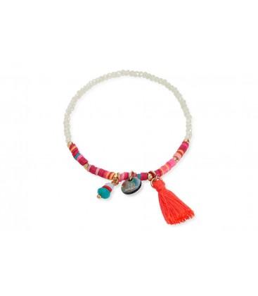 Boho Betty Arame Pink Beaded Tassel Stretch Bracelet