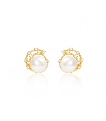 Cultured Freshwater Pearl with Gold Sparkle Swirl