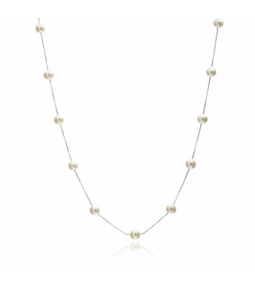 Sterling silver chain with intermittent pearls