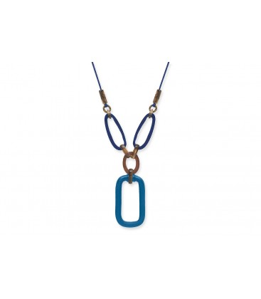 Boho Betty Hemera Horn Necklace, Blue & Brown