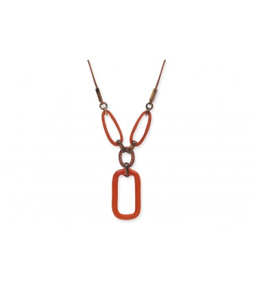 Boho Betty Nyx Horn Necklace, Orange & Brown