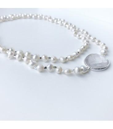 Bcharmd Stanwyck Freshwater Pearl & White Quartz Necklace