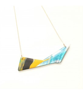 Jojo Blue 'Triangle' Yellow/Silver Grey Necklace