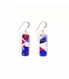 JoJo Blue Deep Pink Rectangle Earrings