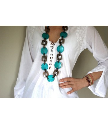 Boho Betty Themis Blue Linked Chain Necklace