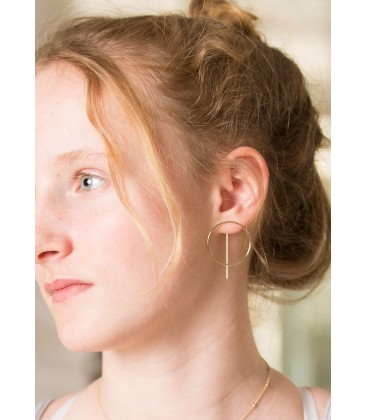 Boho Betty Emmanuel Gold Circle with bar Thread Through Earrings