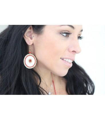 Boho Betty Sousta MOP Red Beaded Statement Earrings