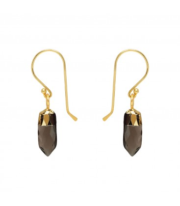 Mirabelle Mini Point Smokey Quartz Earrings