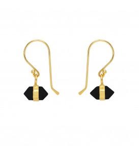 Mirabelle Horizontal Mini Double Point Black Onyx Earrings