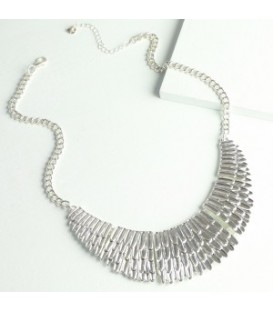 Silver Feather Statement Necklace