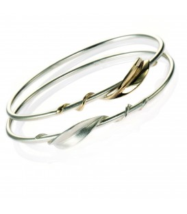 Silver Bangle with 9ct Gold Entwined Forged Leaf