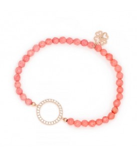 Coral Beaded Bracelet with Circle of Life Charm