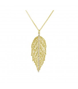 Large Gold Leaf with Crystals Necklace