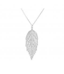 Large Leaf with Crystals Necklace Silver