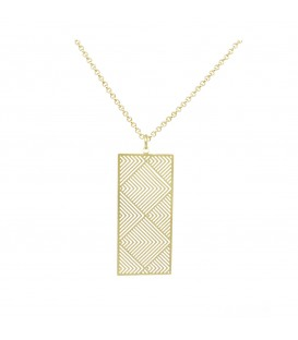 Geo Rectangle Necklace Gold