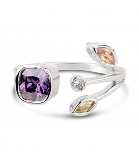 Silver Plated Ring with Coloured Gemstones