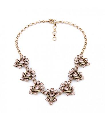 Mink Crystal Statement Necklace Antique Gold