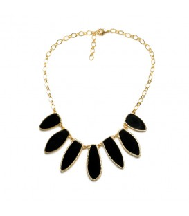 Dramatic Black Stone with Diamante Detail Necklace