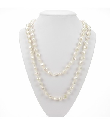"40"" Loop White Pearls"