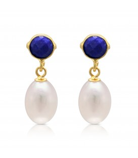 Lapis Stud with tear drop pearl
