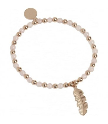 Feather Stretch Bracelet Rose Quartz and Rose Gold