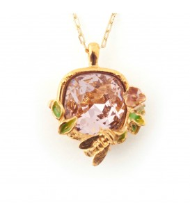 Scenes of Nature Crystal Pendant Bee & Rose