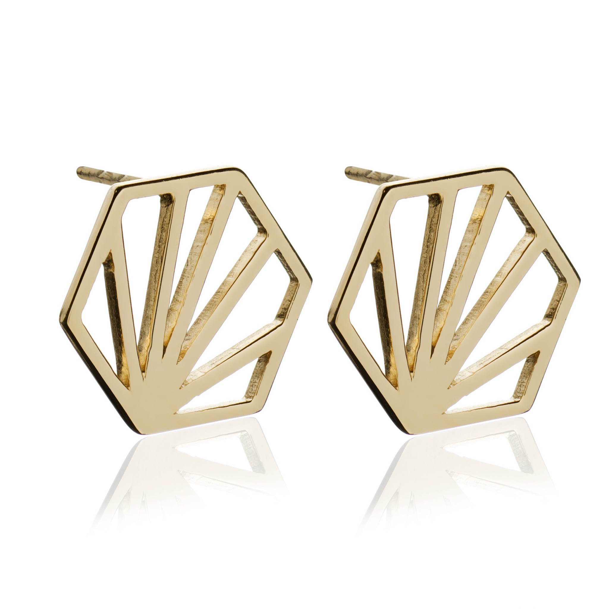 hexagon earrings hoop clean jewellery bonas gold oliver