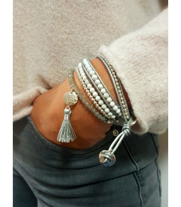 Boho Betty Orion Silver Leather 2 Wrap Bracelet
