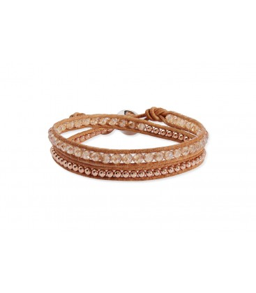 Boho Betty Aries Tan Leather Rose Gold Crystal 2 Wrap Bracelet